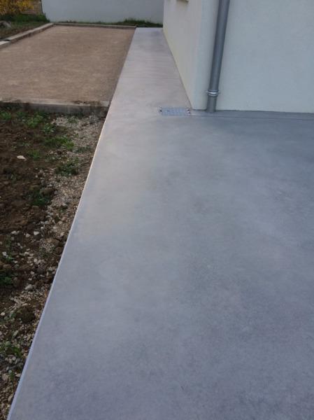 Terrasse Extérieure   Béton Lissé Coloré Gris ALU